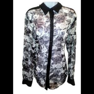 Suzy shier gray and black rose sheer blouse